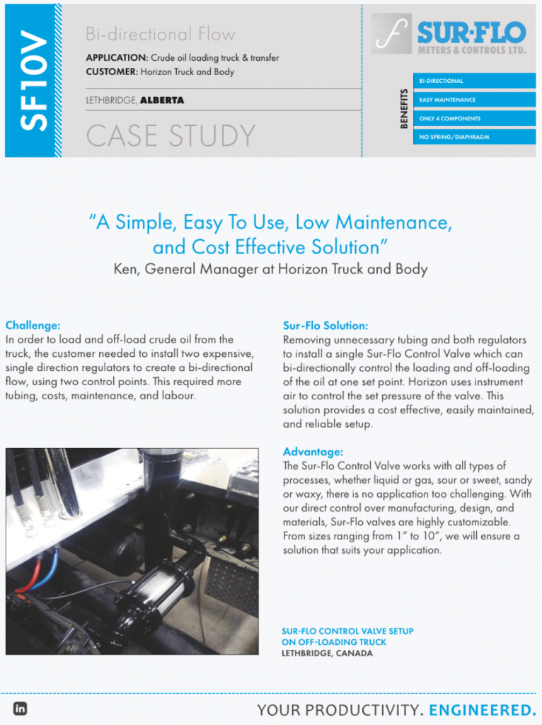 CASE STUDY - SF10V Control Valve Crude Oil Loading Truck and Transfer