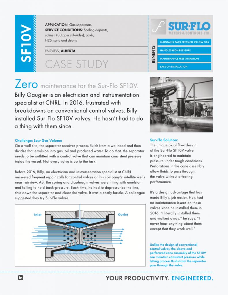 CASE STUDY - SF10V Control Valve Low Gas Volume – Sur-Flo Meters & Controls Ltd.