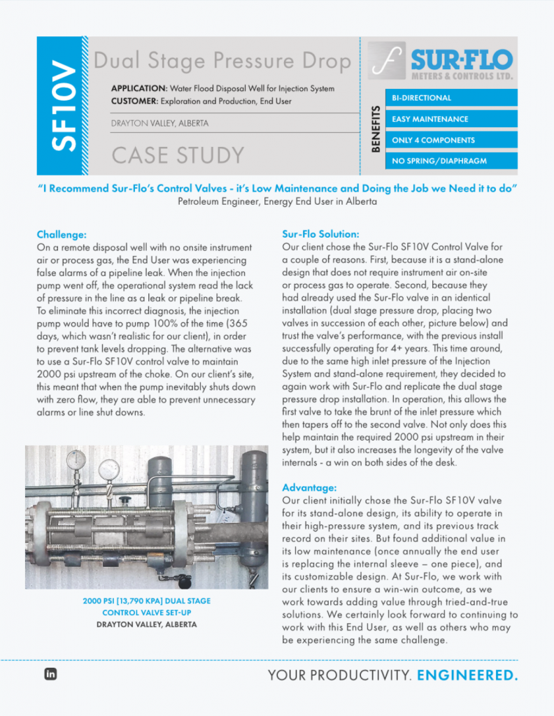 CASE STUDY - SF10V Dual Stage Pressure Drop - Sur-Flo Meters & Controls Ltd.