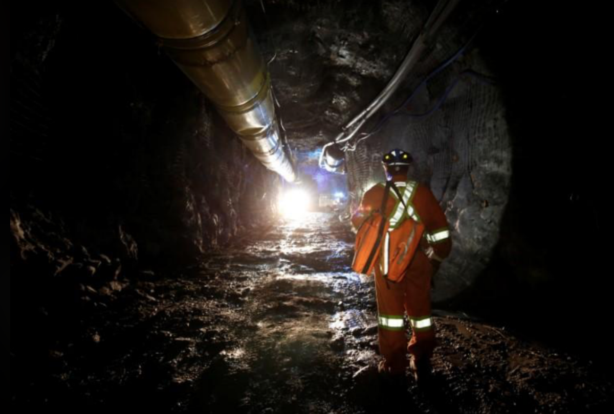 A worker walks underground at Goldcorp Inc's Borden all-electric gold mine near Chapleau, Ontario, Canada, June 13, 2018. REUTERS/Chris Wattie