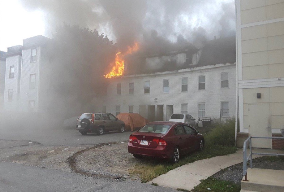 A building burns after explosions in Lawrence, Massachusetts, United States in this September 13, 2018 photo from social media by Boston Sparks. Boston Sparks/Social Media/via REUTERS