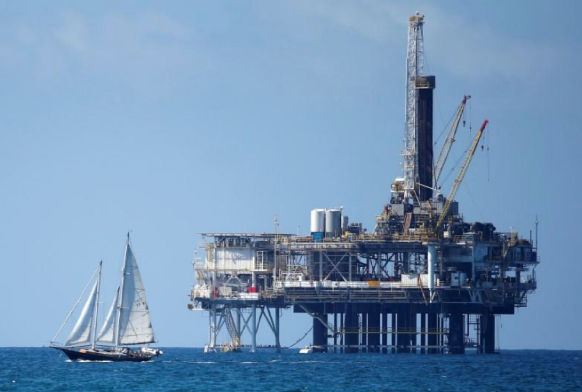 An offshore oil platform is seen in Huntington Beach, California
