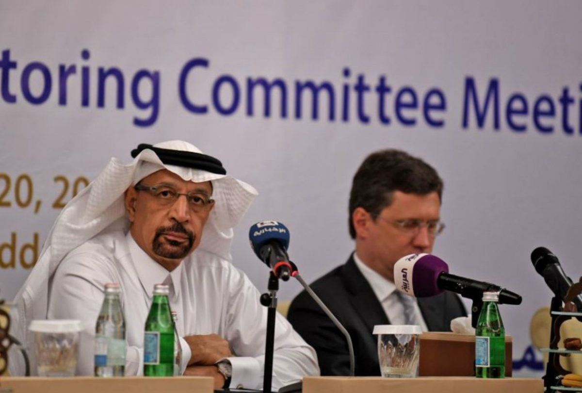 Saudi Energy Minister Khaled al-Falih and Russian Energy Minister Alexander Novak. Photo: AMER HILABI/AFP/Getty Images