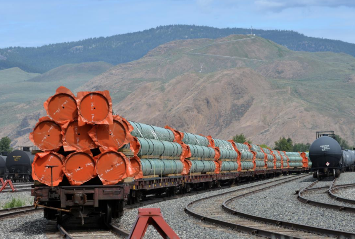 Steel pipe to be used in the oil pipeline construction of Kinder Morgan Canada's Trans Mountain Expansion Project sit on rail cars at a stockpile site in Kamloops, British Columbia, Canada May 29, 2018. REUTERS/Dennis Owen